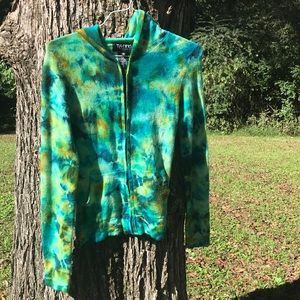 Cashmere tie dye patterned zippered hoodie